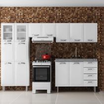 Cozinha Itatiaia Premium Compacta 4 Pecas 2 Vidros Balcao / Gabinete com Pia Inox Branco -