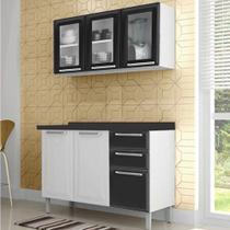 Cozinha Itatiaia Tarsila Compacta 2 Pecas 3 Vidros Armario Aereo e Balcão / Gabinete Branco/Preto -