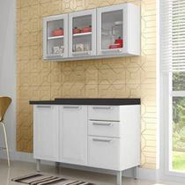 Cozinha Itatiaia Tarsila Compacta 2 Pecas 3 Vidros Armario Aereo e Balcão / Gabinete Branco -