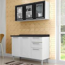 Cozinha Itatiaia Tarsila Compacta 2 Pecas 3 Vidros Armario Aereo Preto e Balcão / Gabinete Branco -