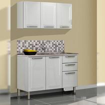 Cozinha Itatiaia Tarsila Compacta 2 Pecas Armario Aereo Branca e Balcão / Gabinete com Pia Branco -