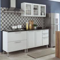 Cozinha Itatiaia Tarsila Compacta 3 Pecas 3 Vidros e Balcão para Cooktop 5 Bocas Branca -