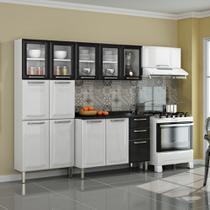Cozinha Itatiaia Tarsila Compacta 4 Pecas 5 Vidros Branca/Preta Paneleiro 80 cm -