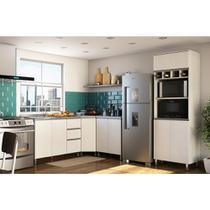Cozinha Modulada 4 Peças com Balcão Diagonal sem Pia Anita Luciane Móveis Legno Crema/Linho -