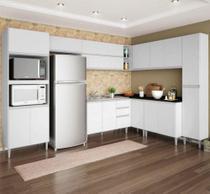 Cozinha Modulada 9 Peças com Balcão Para Pia Vitória Branco Branca - Poquema -