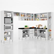 Cozinha Modulada 9 Peças com Balcão Para Pia Vitória Branco - Poquema -