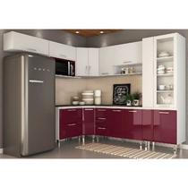 Cozinha Modulada 9 Peças Vitoria Branco/Fucsia - MoveMax -