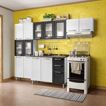 Cozinha Modulada Com Balcão 4 Peças Em Aço Branco/preto Múltipla Com Vidro - Bertolini -