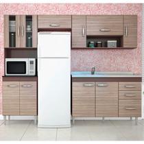 Cozinha Modulada com Balcão Para Pia Manuela Capuccino/Amêndoa - Poquema -