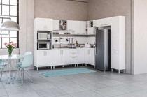 Cozinha modulada Floripa 24 para pia 9 peças Branco/Branco Tatto - Politorno -