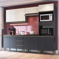 Cozinha Modulada Greta 5 peças Completa 11 PT e 3 GV Grafite-OffWhite - Megasul - IRM