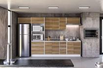 Cozinha modulada Mali 11 para pia 6 peças Branco/Nogal - Politorno -