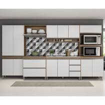 Cozinha Modulada Sabrina 06 Peças 12 Pt 05 Gv 360x195x52 Cm Avelã/Branco TX SAB06 - MENU - Menu Móveis