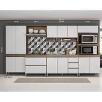 Cozinha Modulada Sabrina 06 Peças 12 Pt 05 Gv 360x195x52 Cm Avelã/Branco TX SAB06 - MENU - MenuMóveis