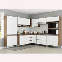 Cozinha Modulada Sabrina 08 Peças 17 Portas 03 Gavetas 252 / 254x195x52 Avelã/Branco TX - Soluzione - A06S -