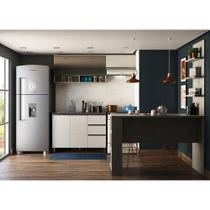 Cozinha Modulado 3 Peças Sem Pia  com Vidro Refleta e Bancada com prateleira Anita Luciane Móveis Legno Crema/ Linho -