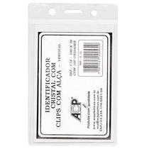 Crachá plástico p/prendedor C12/s 100x70mm vertical ACP -