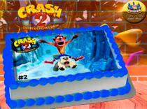 Crash Bandicoot II Papel de Arroz Comestível P/ Bolo A4 20x30cm MOD.06 - Catia'S Cakes Papel De Arroz
