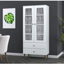 Cristaleira 2 Portas de Vidro 3 Prateleiras 2 Gavetas Lady Espresso Móveis Branco -