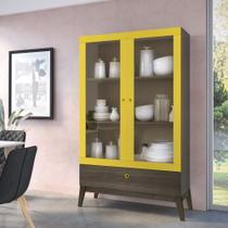 Cristaleira 2 Portas e 1 Gaveta GenialFlex - Demolição/Amarelo -