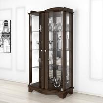 Cristaleira com Espelho 2 Portas de Vidro Charme Imcal Castanho -