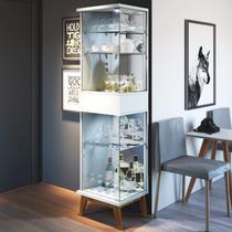 Cristaleira com Espelho 2 Portas em Vidro Nuance Retrô Imcal Branco -