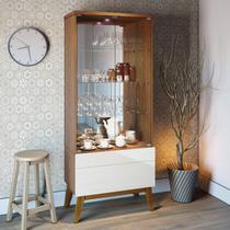 Cristaleira com Espelho e LED 2 Portas em Vidro 1 Gaveta Classic Retrô Imcal Freijó/Off White -