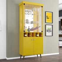 Cristaleira com Porta Garrafas e 4 Portas Monza II Móveis Bechara Amarelo -