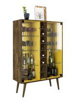 Cristaleira Módena Madeira Rústica com Amarelo - Móveis Bechara -