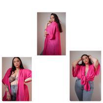 Cropped Plus Size 3 em 1,Kimono Urbano, Saída De Praia, Plus Size Pink Tamanho 58/60 - Psique Plus