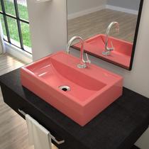 Cuba de Apoio Banheiro Q450W com Torneira, Válvula de Metal, Sifão e Flexível Compace Rosa -