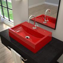 Cuba de Apoio Banheiro Q450W com Torneira, Válvula de Metal, Sifão e Flexível Compace Vermelho -