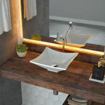Cuba de Apoio para Banheiro L30 Lux Quadrada Folha Compace Branco -