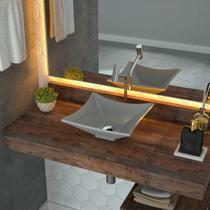 Cuba de Apoio para Banheiro L30 Lux Quadrada Folha Compace Cinza -
