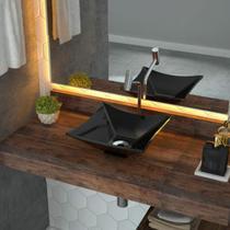 Cuba de Apoio para Banheiro L30 Lux Quadrada Folha Compace Preto -