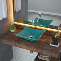 Cuba de Apoio para Banheiro L34 Lux Quadrada Folha Compace Azul Turquesa -