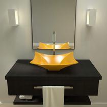 Cuba de Apoio para Banheiro L38 Lux Retangular Folha Compace Amarelo -