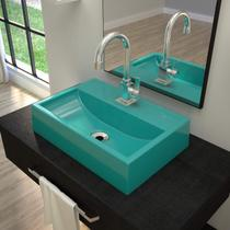 Cuba de Apoio para Banheiro Q45W Retangular Compace Azul Turquesa -