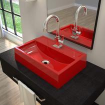 Cuba de Apoio para Banheiro Q45W Retangular Compace Vermelho -