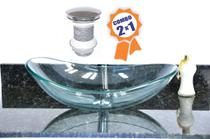 Cuba de vidro oval 47cm incolor + válvula click - Cubas E Gabinetes
