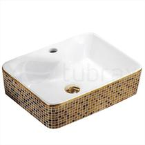 Cuba Dourada Banheiro Lavabo Cerâmica Sobrepor Retangular Tubrax -