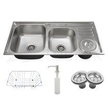 Cuba dupla de cozinha com lixeira produzida em aço inox com kit - cbc0007-c - Tubrax