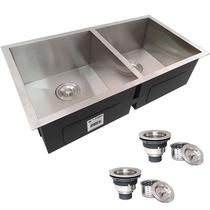 Cuba Dupla Quadrada Inox 304 Cozinha Pia Embutir Sobrepor Gourmet 8040 Premium com Válvula - ecubas