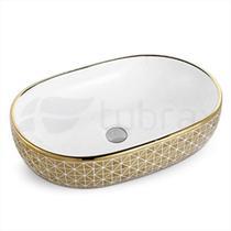 Cuba Oval Banheiro Lavabo Cerâmica Sobrepor Dourada Tubrax -