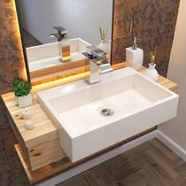 Cuba Para Banheiro Trevalla XRT550W Semi Encaixe Retangular -