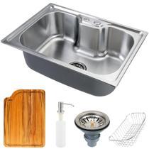 Cuba para cozinha gourmet pia aço inox com acessórios e tábua de corte Nawa 50 cm pingoo.casa -