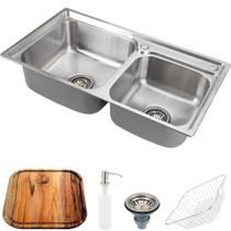 Cuba para cozinha gourmet pia dupla aço inox com acessórios e tábua de corte ticunas pingoo.casa -