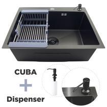 Cuba Pia Cozinha Gourmet Aco Inox Preta Quadrada +Disp 500ml - Guimmis