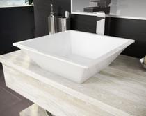 Cuba Pia De Apoio Para Banheiro Toleato Quadrada Gaia 36 Cm Marmorite Branco -