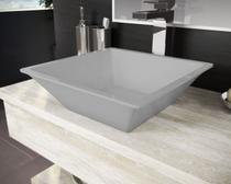 Cuba Pia De Apoio Para Banheiro Toleato Quadrada Gaia 36 Cm Marmorite Cinza Grey -